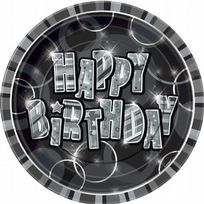 "Black Glitz Happy Birthday 9"" Paper Plates (8)"